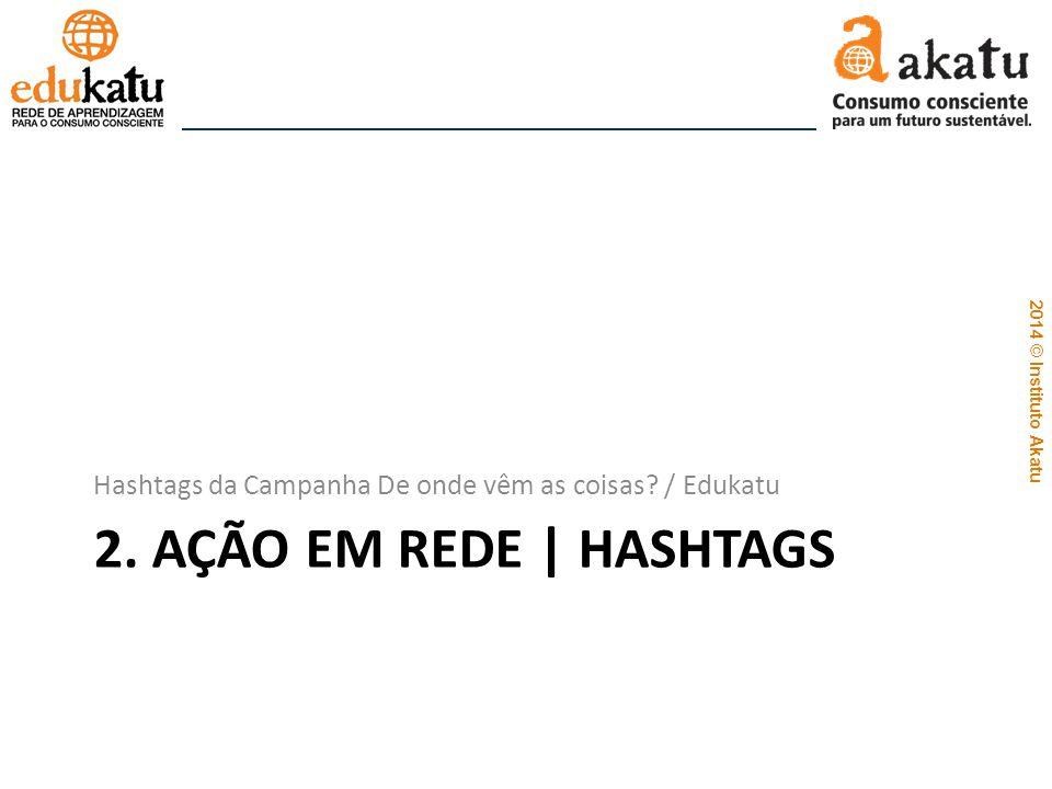 2014 © Instituto Akatu 2. AÇÃO EM REDE | HASHTAGS Hashtags da Campanha De onde vêm as coisas? / Edukatu