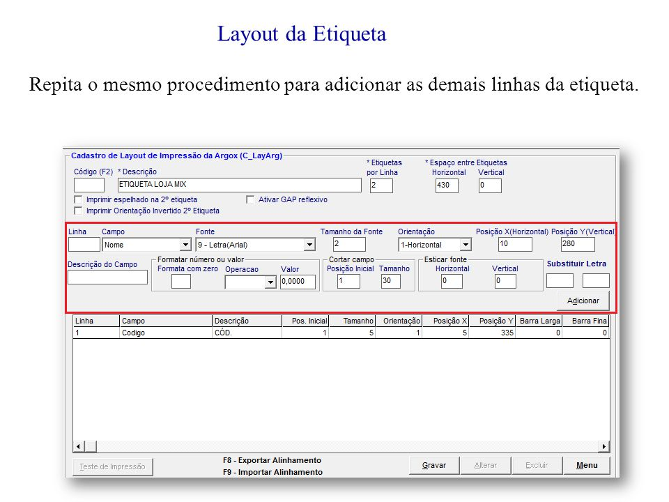Layout da Etiqueta Repita o mesmo procedimento para adicionar as demais linhas da etiqueta.