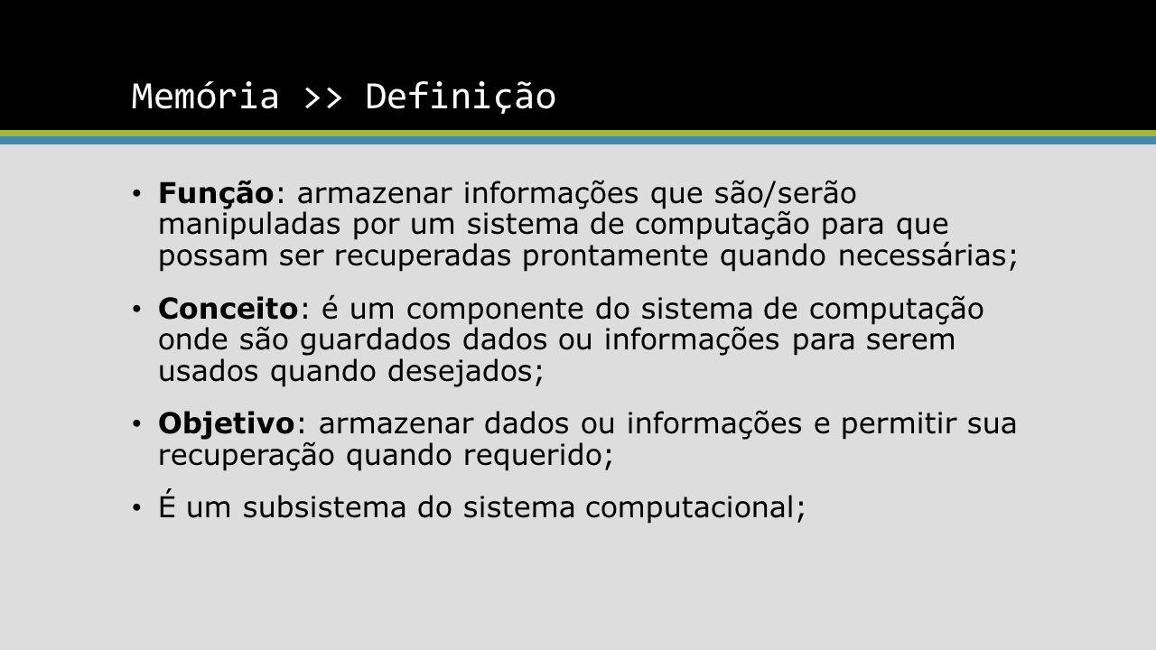 Memória >> Definição Função: armazenar informações que são/serão manipuladas por um sistema de computação para que possam ser recuperadas prontamente quando necessárias; Conceito: é um componente do sistema de computação onde são guardados dados ou informações para serem usados quando desejados; Objetivo: armazenar dados ou informações e permitir sua recuperação quando requerido; É um subsistema do sistema computacional;