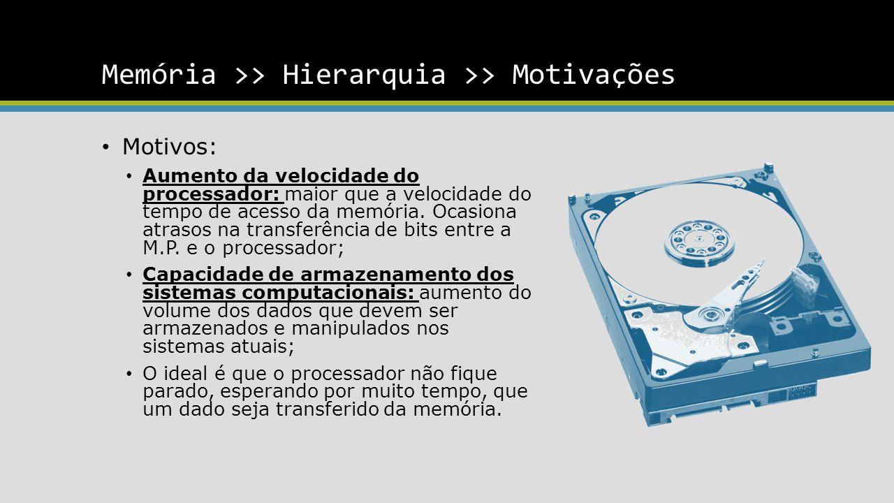 Memória >> Hierarquia >> Motivações Motivos: Aumento da velocidade do processador: maior que a velocidade do tempo de acesso da memória. Ocasiona atra