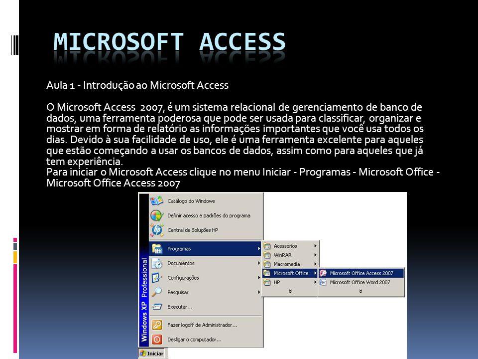 Aula 1 - Introdução ao Microsoft Access O Microsoft Access 2007, é um sistema relacional de gerenciamento de banco de dados, uma ferramenta poderosa q