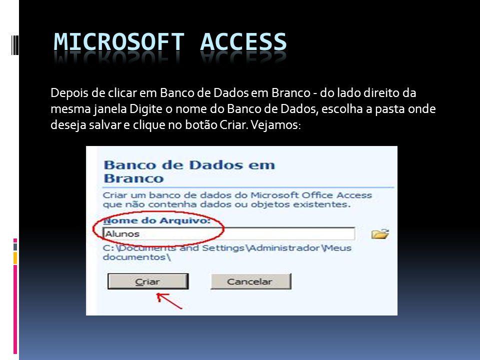 Depois de clicar em Banco de Dados em Branco - do lado direito da mesma janela Digite o nome do Banco de Dados, escolha a pasta onde deseja salvar e c