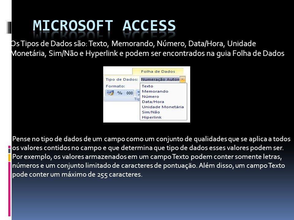 Existem dez tipos de dados diferentes no Access: Arquivos Anexos = como fotos digitais.