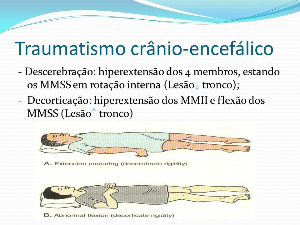 Traumatismo crânio-encefálico - Descerebração: hiperextensão dos 4 membros, estando os MMSS em rotação interna (Lesão tronco); - Decorticação: hiperex