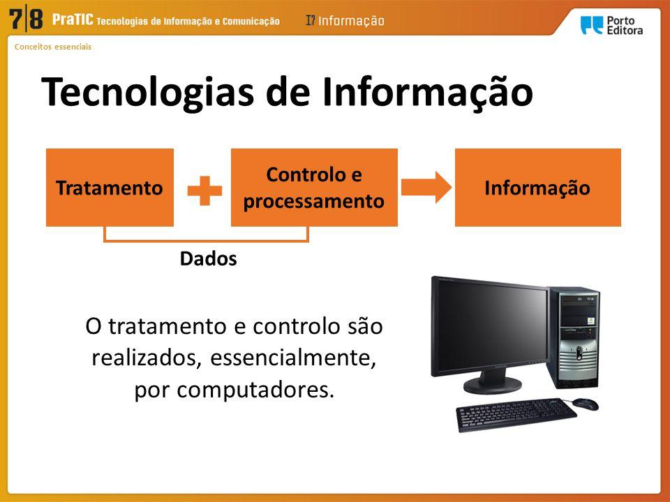 Conceitos essenciais O tratamento e controlo são realizados, essencialmente, por computadores.