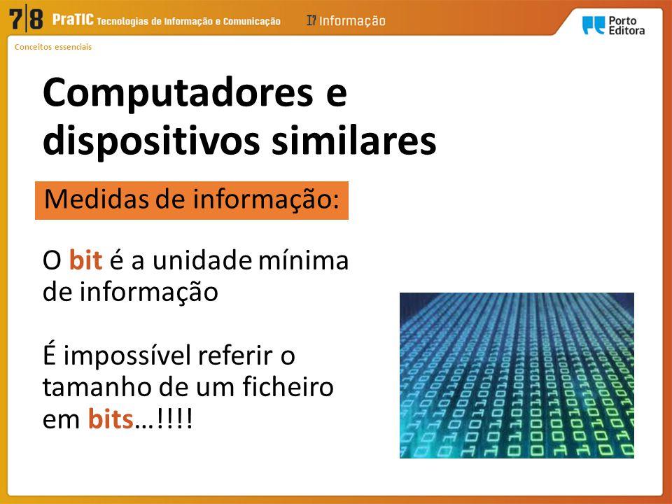 Computadores e dispositivos similares 1 Byte8 bits 1 Quilobyte (KB)1024 bytes 1 Megabyte (MB)1024 KB 1 Gigabyte (GB)1024 MB 1 Terabyte (TB)1024 GB 1 Petabyte (PB)1024 TB 1 Exabyte (EB)1024 PB Medidas de informação: Conceitos essenciais
