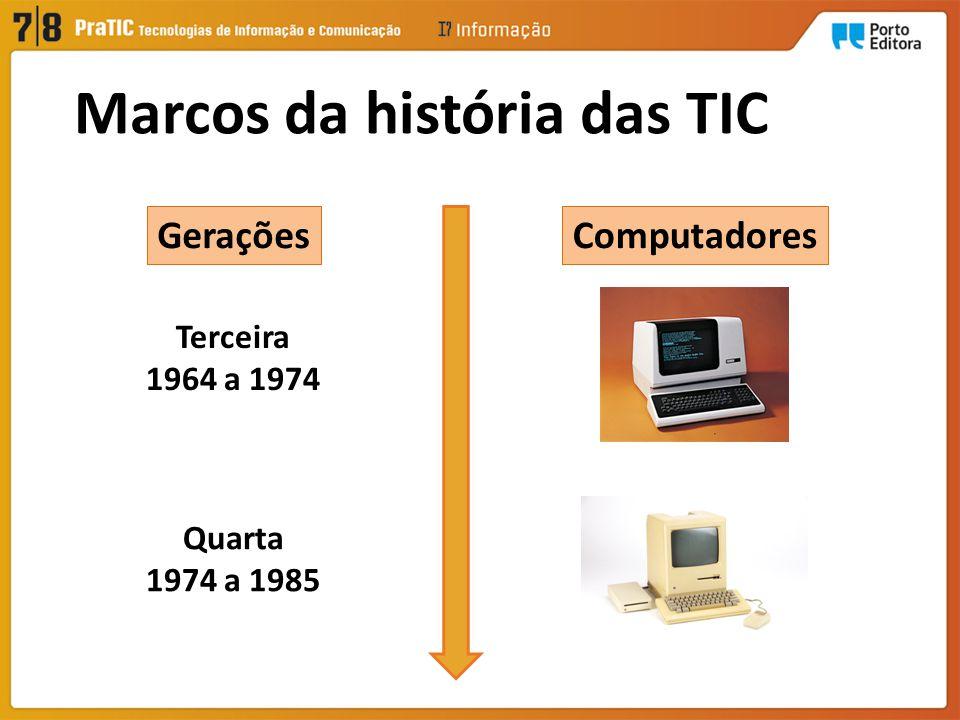 ComputadoresGerações Terceira 1964 a 1974 Quarta 1974 a 1985 Marcos da história das TIC
