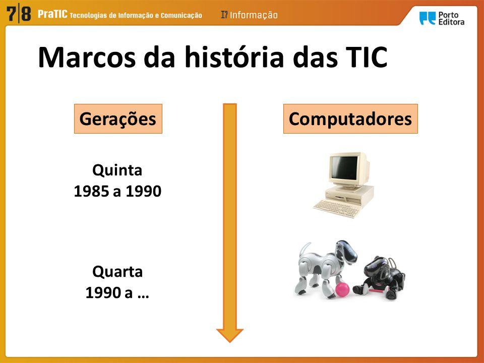 ComputadoresGerações Quinta 1985 a 1990 Quarta 1990 a … Marcos da história das TIC