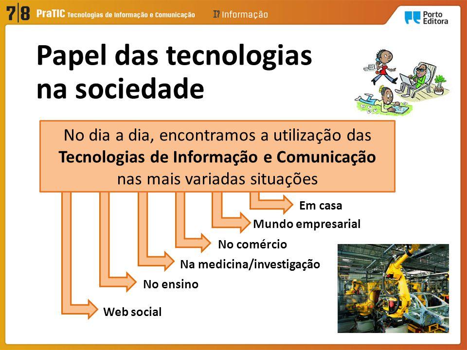 Em casa Mundo empresarial No comércio Na medicina/investigação No ensino Web social No dia a dia, encontramos a utilização das Tecnologias de Informação e Comunicação nas mais variadas situações Papel das tecnologias na sociedade