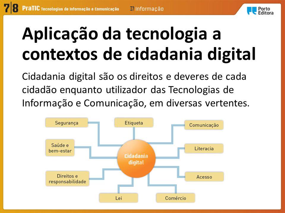 Cidadania digital são os direitos e deveres de cada cidadão enquanto utilizador das Tecnologias de Informação e Comunicação, em diversas vertentes.