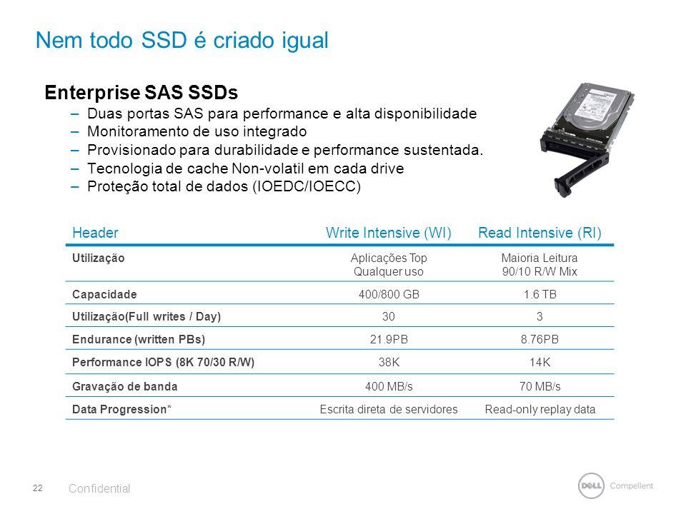 Enterprise SAS SSDs –Duas portas SAS para performance e alta disponibilidade –Monitoramento de uso integrado –Provisionado para durabilidade e perform