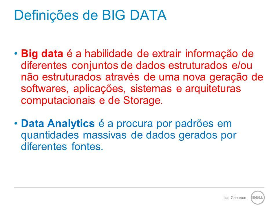 Ilan Grinspun Definições de BIG DATA Big data é a habilidade de extrair informação de diferentes conjuntos de dados estruturados e/ou não estruturados