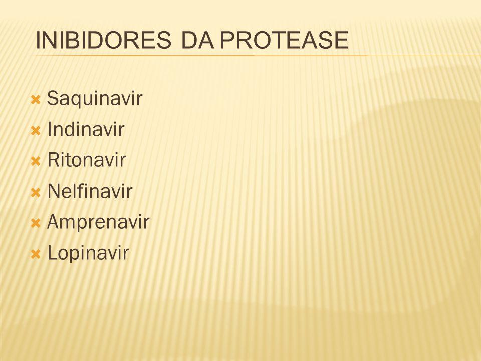  Saquinavir  Indinavir  Ritonavir  Nelfinavir  Amprenavir  Lopinavir INIBIDORES DA PROTEASE