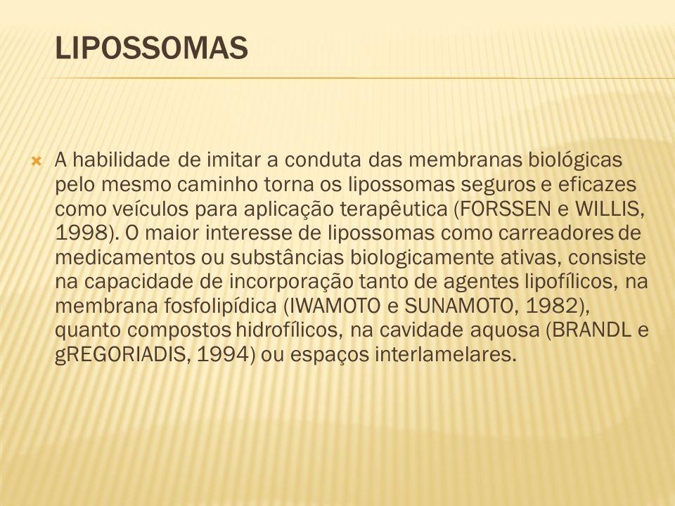  A habilidade de imitar a conduta das membranas biológicas pelo mesmo caminho torna os lipossomas seguros e eficazes como veículos para aplicação terapêutica (FORSSEN e WILLIS, 1998).