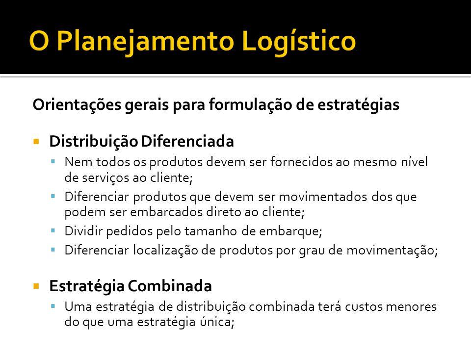 Orientações gerais para formulação de estratégias  Distribuição Diferenciada  Nem todos os produtos devem ser fornecidos ao mesmo nível de serviços