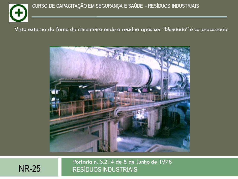 NR-25 RESÍDUOS INDUSTRIAIS Portaria n. 3.214 de 8 de Junho de 1978 CURSO DE CAPACITAÇÃO EM SEGURANÇA E SAÚDE – RESÍDUOS INDUSTRIAIS Vista externa do f