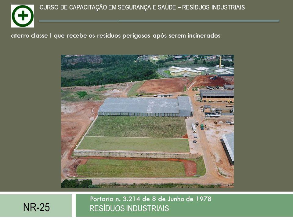 NR-25 RESÍDUOS INDUSTRIAIS Portaria n. 3.214 de 8 de Junho de 1978 CURSO DE CAPACITAÇÃO EM SEGURANÇA E SAÚDE – RESÍDUOS INDUSTRIAIS aterro classe I qu