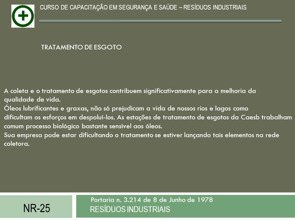 NR-25 RESÍDUOS INDUSTRIAIS Portaria n. 3.214 de 8 de Junho de 1978 CURSO DE CAPACITAÇÃO EM SEGURANÇA E SAÚDE – RESÍDUOS INDUSTRIAIS A coleta e o trata