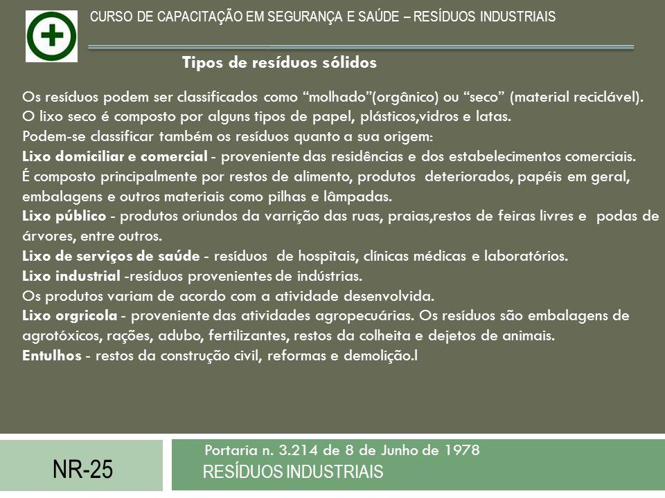 NR-25 RESÍDUOS INDUSTRIAIS Portaria n. 3.214 de 8 de Junho de 1978 CURSO DE CAPACITAÇÃO EM SEGURANÇA E SAÚDE – RESÍDUOS INDUSTRIAIS Os resíduos podem