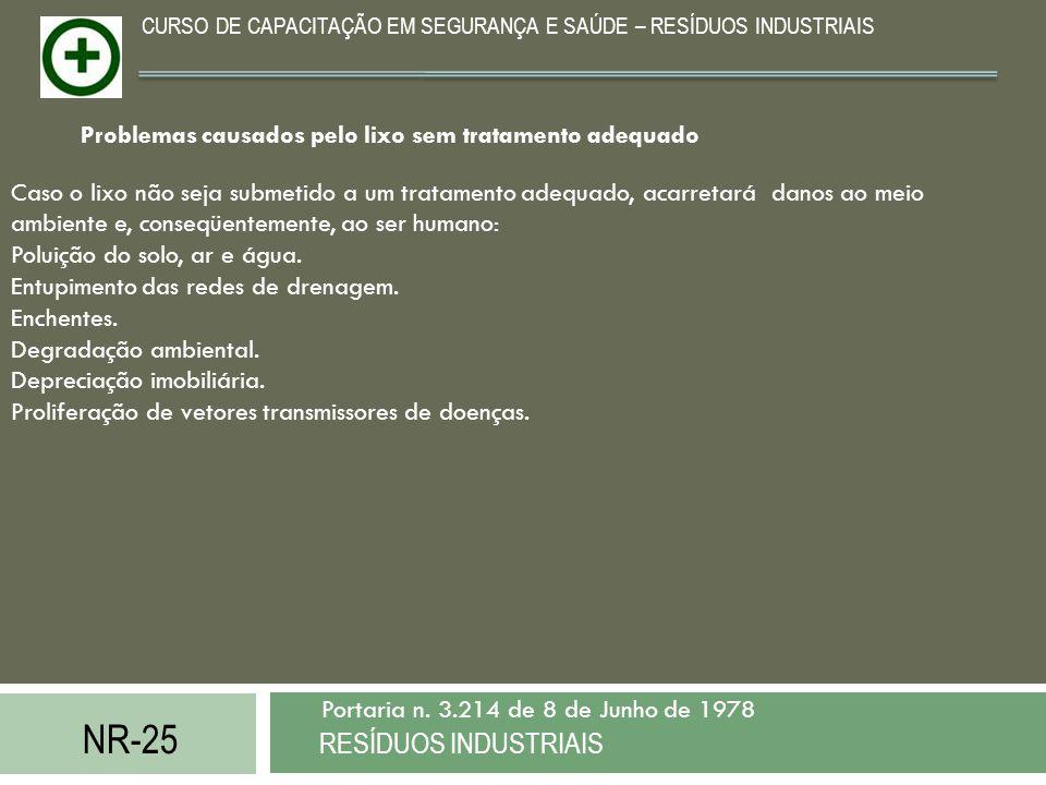 NR-25 RESÍDUOS INDUSTRIAIS Portaria n. 3.214 de 8 de Junho de 1978 CURSO DE CAPACITAÇÃO EM SEGURANÇA E SAÚDE – RESÍDUOS INDUSTRIAIS Caso o lixo não se