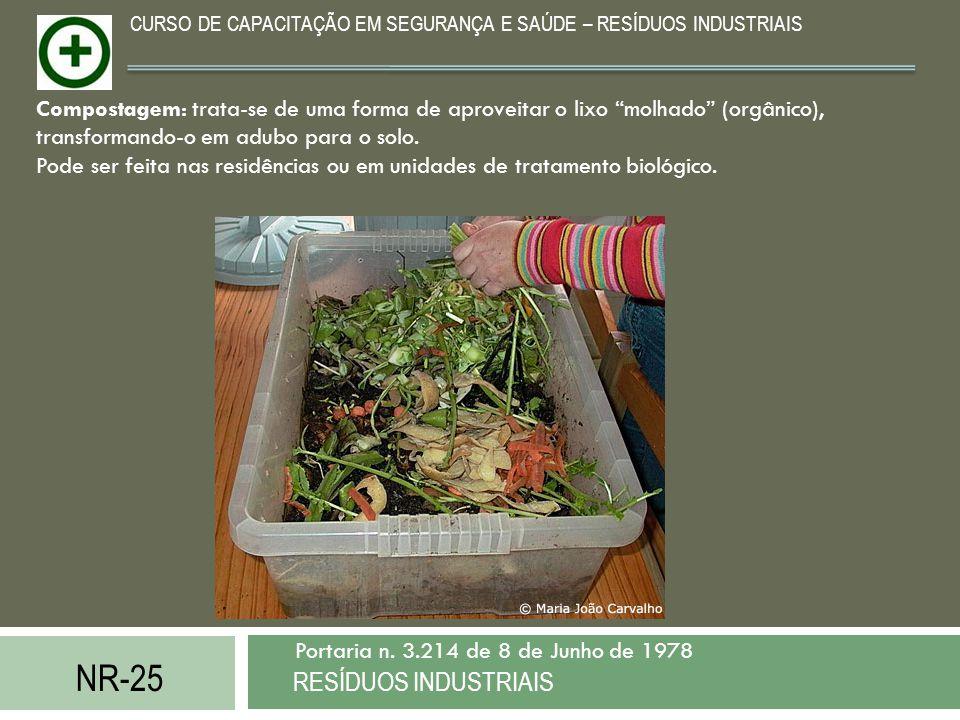 NR-25 RESÍDUOS INDUSTRIAIS Portaria n. 3.214 de 8 de Junho de 1978 CURSO DE CAPACITAÇÃO EM SEGURANÇA E SAÚDE – RESÍDUOS INDUSTRIAIS Compostagem: trata