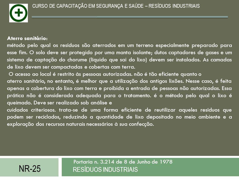 NR-25 RESÍDUOS INDUSTRIAIS Portaria n. 3.214 de 8 de Junho de 1978 CURSO DE CAPACITAÇÃO EM SEGURANÇA E SAÚDE – RESÍDUOS INDUSTRIAIS Aterro sanitário: