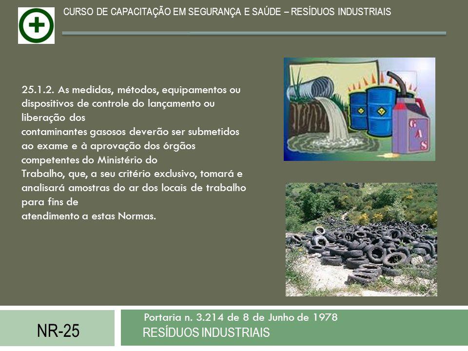 NR-25 RESÍDUOS INDUSTRIAIS Portaria n. 3.214 de 8 de Junho de 1978 CURSO DE CAPACITAÇÃO EM SEGURANÇA E SAÚDE – RESÍDUOS INDUSTRIAIS 25.1.2. As medidas