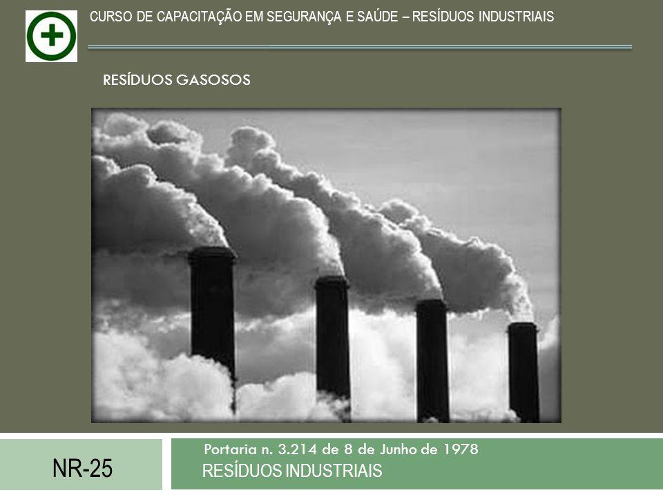 NR-25 RESÍDUOS INDUSTRIAIS Portaria n. 3.214 de 8 de Junho de 1978 CURSO DE CAPACITAÇÃO EM SEGURANÇA E SAÚDE – RESÍDUOS INDUSTRIAIS RESÍDUOS GASOSOS