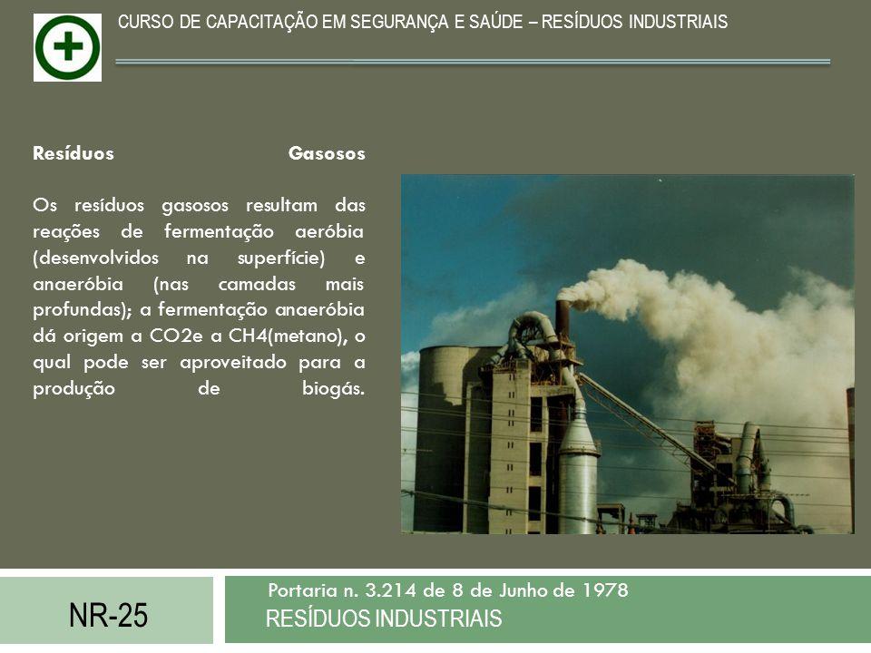 NR-25 RESÍDUOS INDUSTRIAIS Portaria n. 3.214 de 8 de Junho de 1978 CURSO DE CAPACITAÇÃO EM SEGURANÇA E SAÚDE – RESÍDUOS INDUSTRIAIS Resíduos Gasosos O