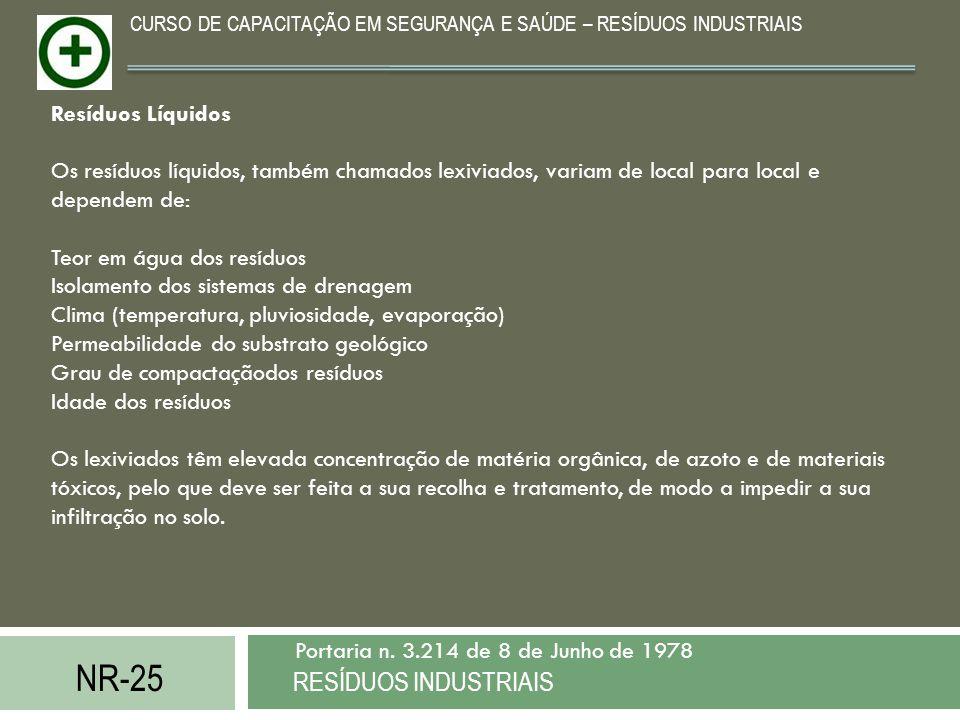 NR-25 RESÍDUOS INDUSTRIAIS Portaria n. 3.214 de 8 de Junho de 1978 CURSO DE CAPACITAÇÃO EM SEGURANÇA E SAÚDE – RESÍDUOS INDUSTRIAIS Resíduos Líquidos
