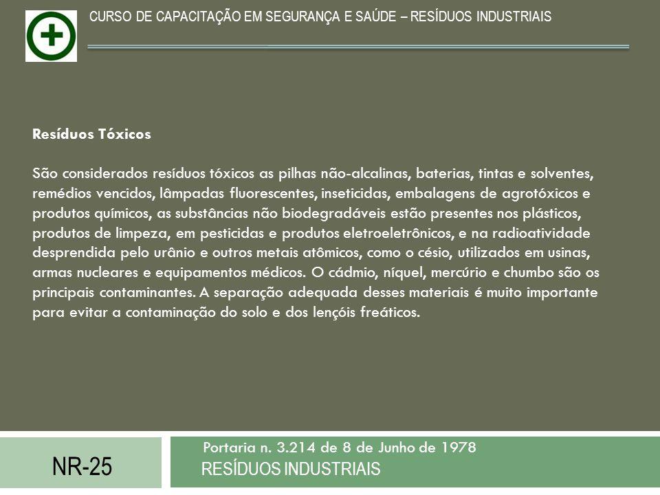 NR-25 RESÍDUOS INDUSTRIAIS Portaria n. 3.214 de 8 de Junho de 1978 CURSO DE CAPACITAÇÃO EM SEGURANÇA E SAÚDE – RESÍDUOS INDUSTRIAIS Resíduos Tóxicos S