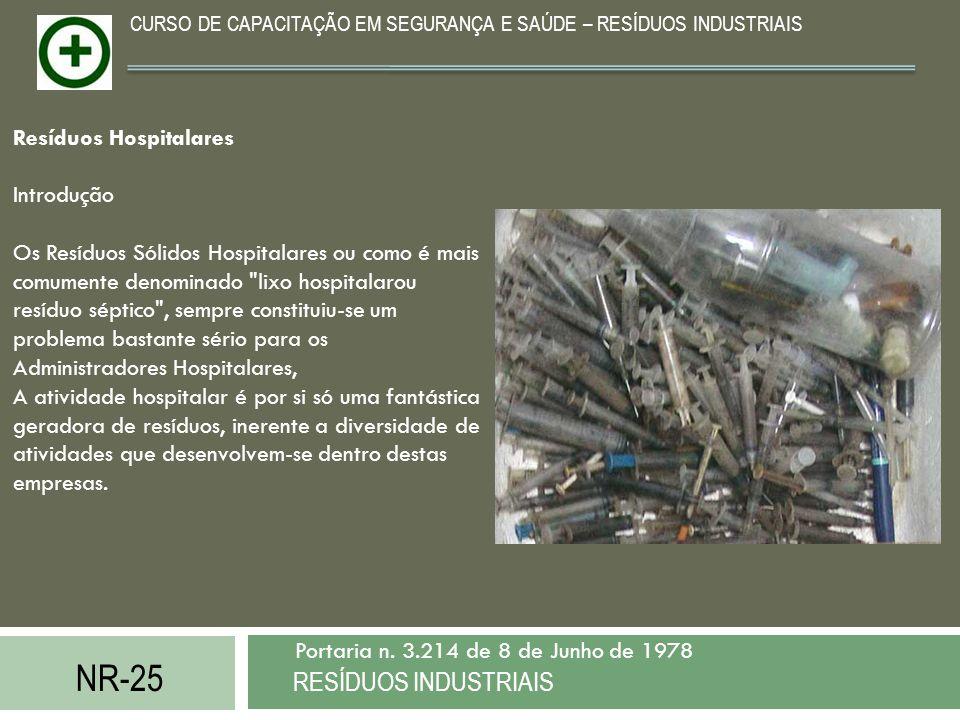 NR-25 RESÍDUOS INDUSTRIAIS Portaria n. 3.214 de 8 de Junho de 1978 CURSO DE CAPACITAÇÃO EM SEGURANÇA E SAÚDE – RESÍDUOS INDUSTRIAIS Resíduos Hospitala