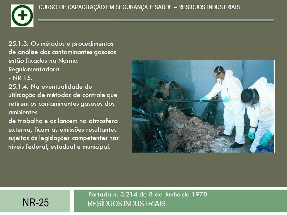 NR-25 RESÍDUOS INDUSTRIAIS Portaria n. 3.214 de 8 de Junho de 1978 CURSO DE CAPACITAÇÃO EM SEGURANÇA E SAÚDE – RESÍDUOS INDUSTRIAIS 25.1.3. Os métodos