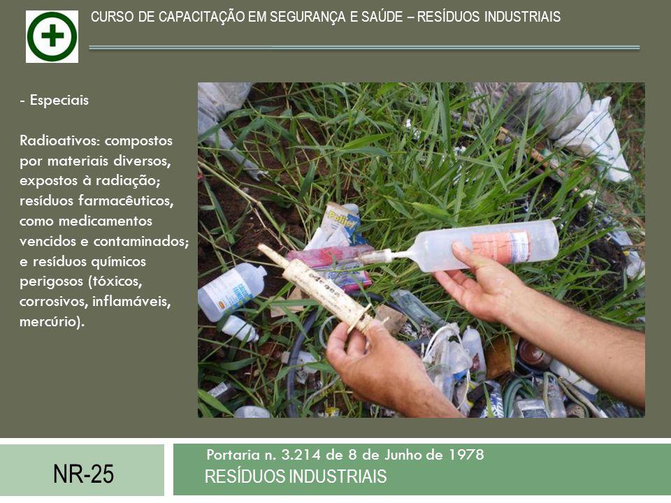 NR-25 RESÍDUOS INDUSTRIAIS Portaria n. 3.214 de 8 de Junho de 1978 CURSO DE CAPACITAÇÃO EM SEGURANÇA E SAÚDE – RESÍDUOS INDUSTRIAIS - Especiais Radioa