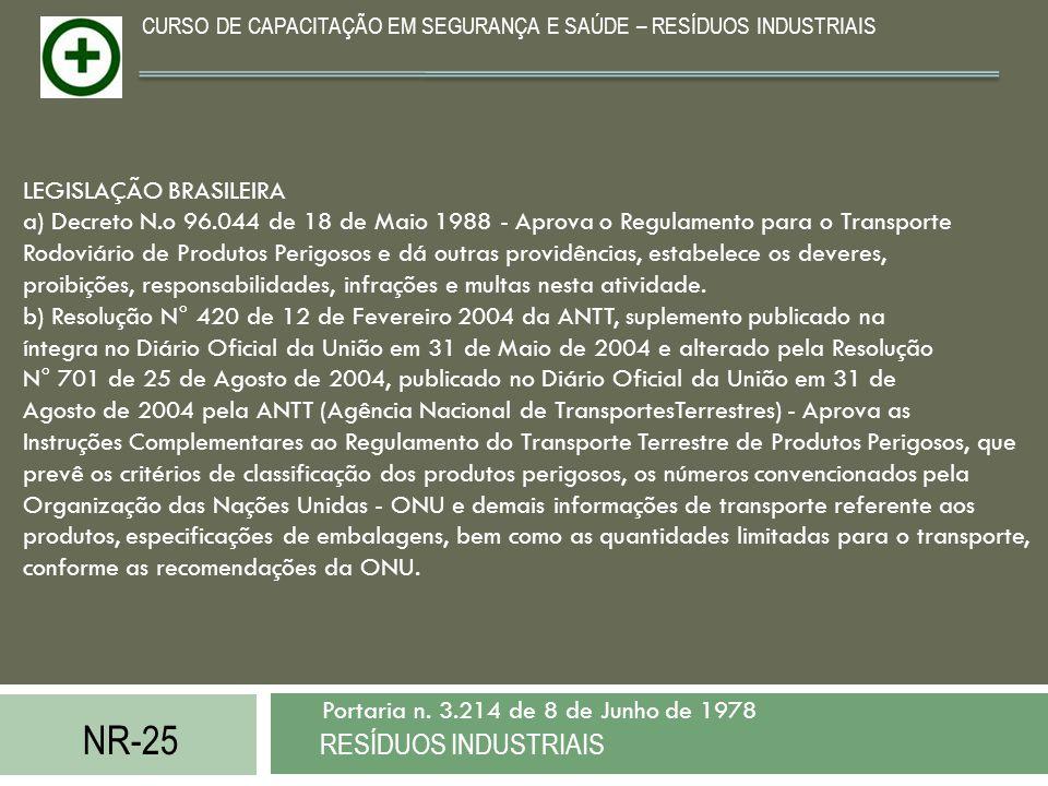 NR-25 RESÍDUOS INDUSTRIAIS Portaria n. 3.214 de 8 de Junho de 1978 CURSO DE CAPACITAÇÃO EM SEGURANÇA E SAÚDE – RESÍDUOS INDUSTRIAIS LEGISLAÇÃO BRASILE