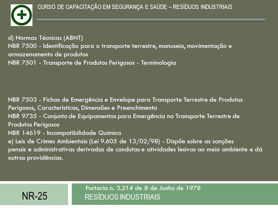 NR-25 RESÍDUOS INDUSTRIAIS Portaria n. 3.214 de 8 de Junho de 1978 CURSO DE CAPACITAÇÃO EM SEGURANÇA E SAÚDE – RESÍDUOS INDUSTRIAIS d) Normas Técnicas