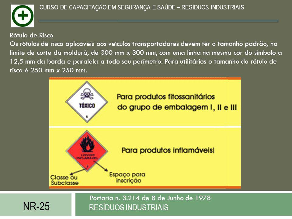 NR-25 RESÍDUOS INDUSTRIAIS Portaria n. 3.214 de 8 de Junho de 1978 CURSO DE CAPACITAÇÃO EM SEGURANÇA E SAÚDE – RESÍDUOS INDUSTRIAIS Rótulo de Risco Os