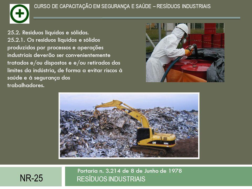 NR-25 RESÍDUOS INDUSTRIAIS Portaria n. 3.214 de 8 de Junho de 1978 CURSO DE CAPACITAÇÃO EM SEGURANÇA E SAÚDE – RESÍDUOS INDUSTRIAIS 25.2. Resíduos líq