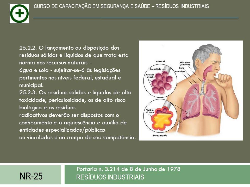 NR-25 RESÍDUOS INDUSTRIAIS Portaria n. 3.214 de 8 de Junho de 1978 CURSO DE CAPACITAÇÃO EM SEGURANÇA E SAÚDE – RESÍDUOS INDUSTRIAIS 25.2.2. O lançamen