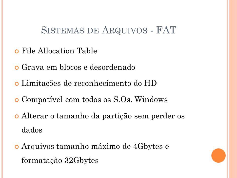 S ISTEMAS DE A RQUIVOS - FAT File Allocation Table Grava em blocos e desordenado Limitações de reconhecimento do HD Compatível com todos os S.Os.