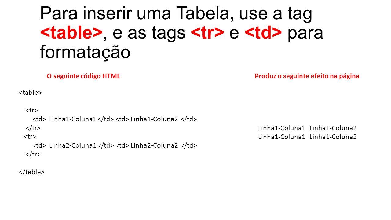 Para inserir uma Tabela, use a tag, e as tags e para formatação Linha1-Coluna1 Linha1-Coluna2 Linha2-Coluna1 Linha2-Coluna2 O seguinte código HTMLProduz o seguinte efeito na página Linha1-Coluna1 Linha1-Coluna2