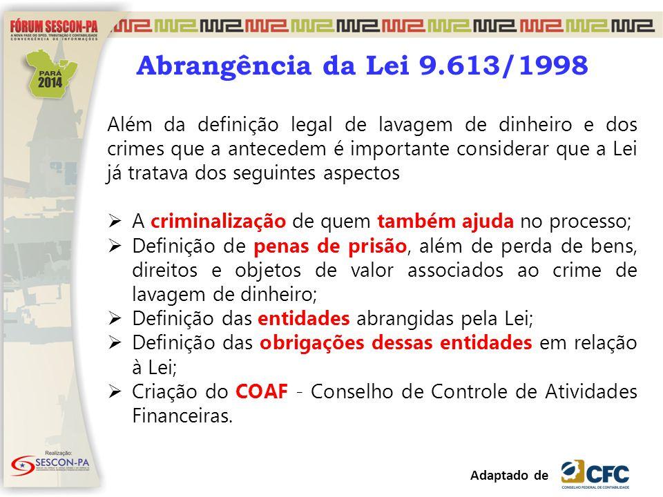 Abrangência da Lei 9.613/1998 Além da definição legal de lavagem de dinheiro e dos crimes que a antecedem é importante considerar que a Lei já tratava