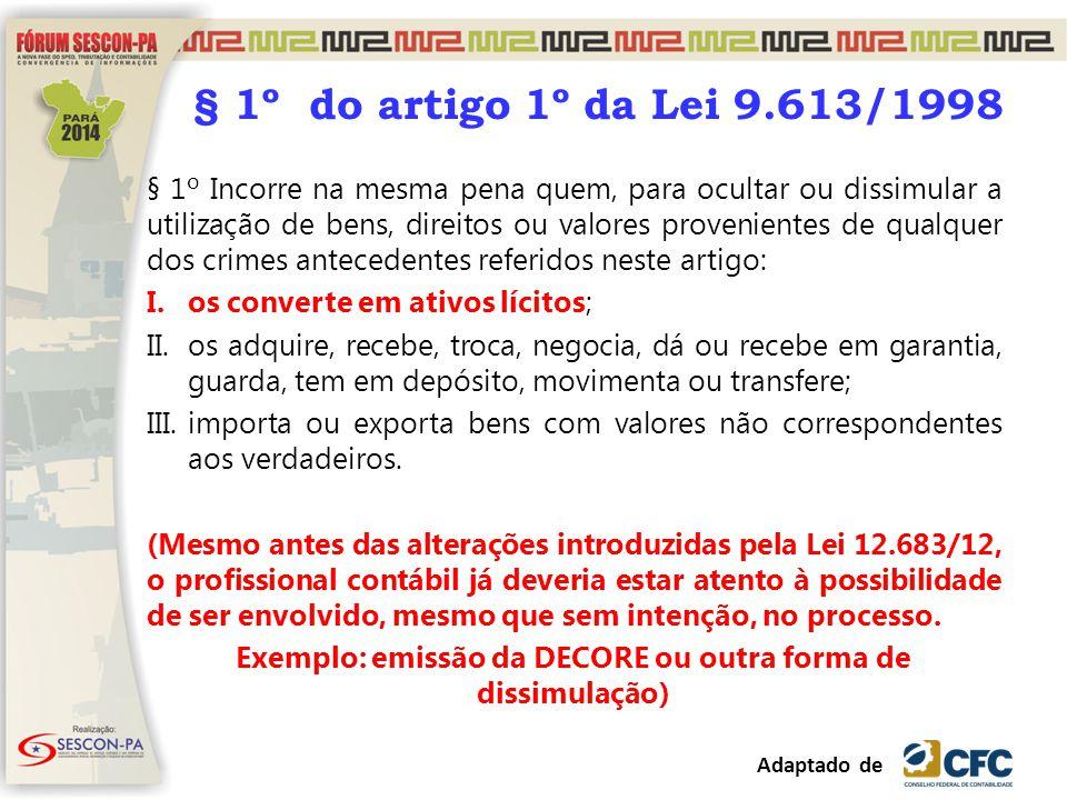 § 1º do artigo 1º da Lei 9.613/1998 § 1º Incorre na mesma pena quem, para ocultar ou dissimular a utilização de bens, direitos ou valores provenientes
