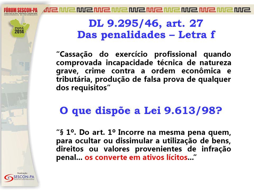 """DL 9.295/46, art. 27 Das penalidades – Letra f """"Cassação do exercício profissional quando comprovada incapacidade técnica de natureza grave, crime con"""