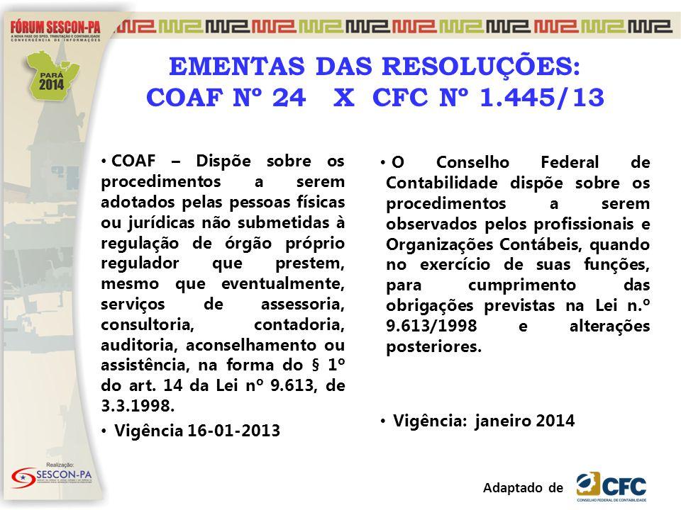 EMENTAS DAS RESOLUÇÕES: COAF Nº 24 X CFC Nº 1.445/13 COAF – Dispõe sobre os procedimentos a serem adotados pelas pessoas físicas ou jurídicas não subm