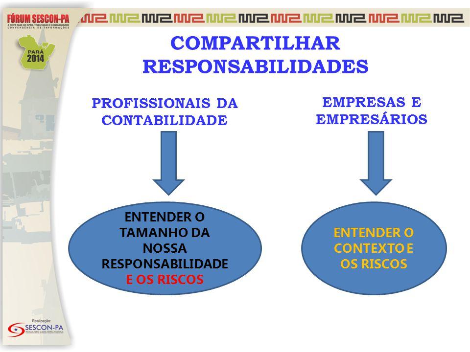 PROFISSIONAIS DA CONTABILIDADE EMPRESAS E EMPRESÁRIOS COMPARTILHAR RESPONSABILIDADES ENTENDER O TAMANHO DA NOSSA RESPONSABILIDADE E OS RISCOS ENTENDER