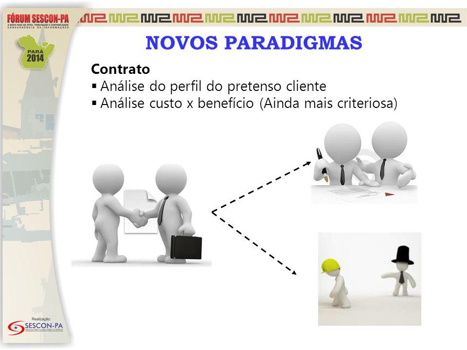 NOVOS PARADIGMAS Contrato  Análise do perfil do pretenso cliente  Análise custo x benefício (Ainda mais criteriosa)