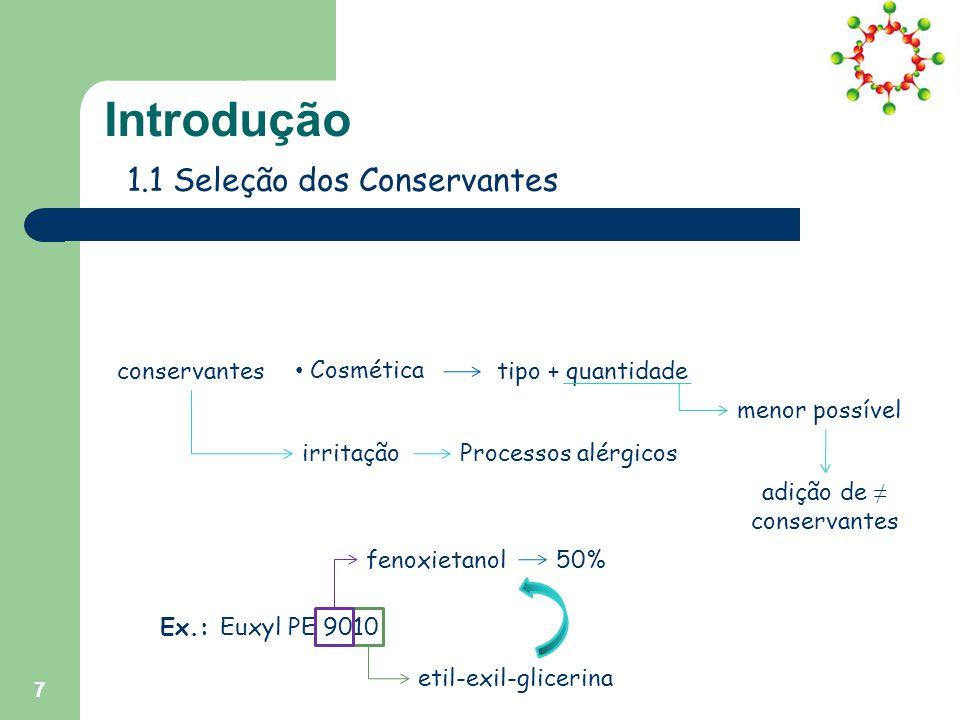 7 Introdução 1.1 Seleção dos Conservantes conservantes Farmácia Cosmética Nutrição tipo + quantidade irritaçãoProcessos alérgicos menor possível adição de ≠ conservantes Ex.: Euxyl PE 9010 fenoxietanol etil-exil-glicerina 50%