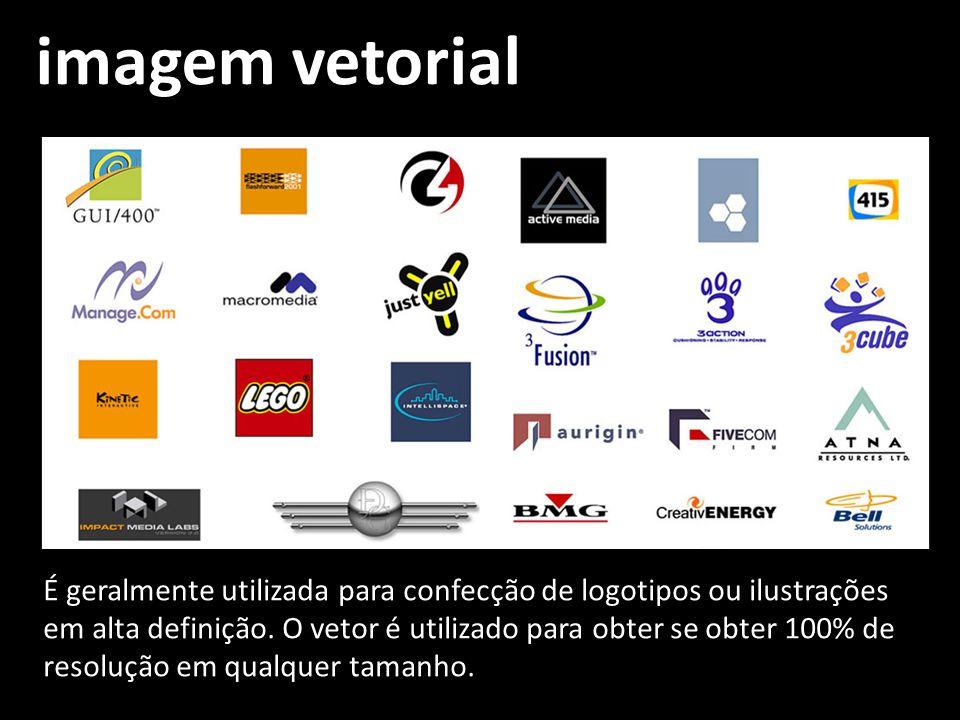 imagem vetorial É geralmente utilizada para confecção de logotipos ou ilustrações em alta definição. O vetor é utilizado para obter se obter 100% de r