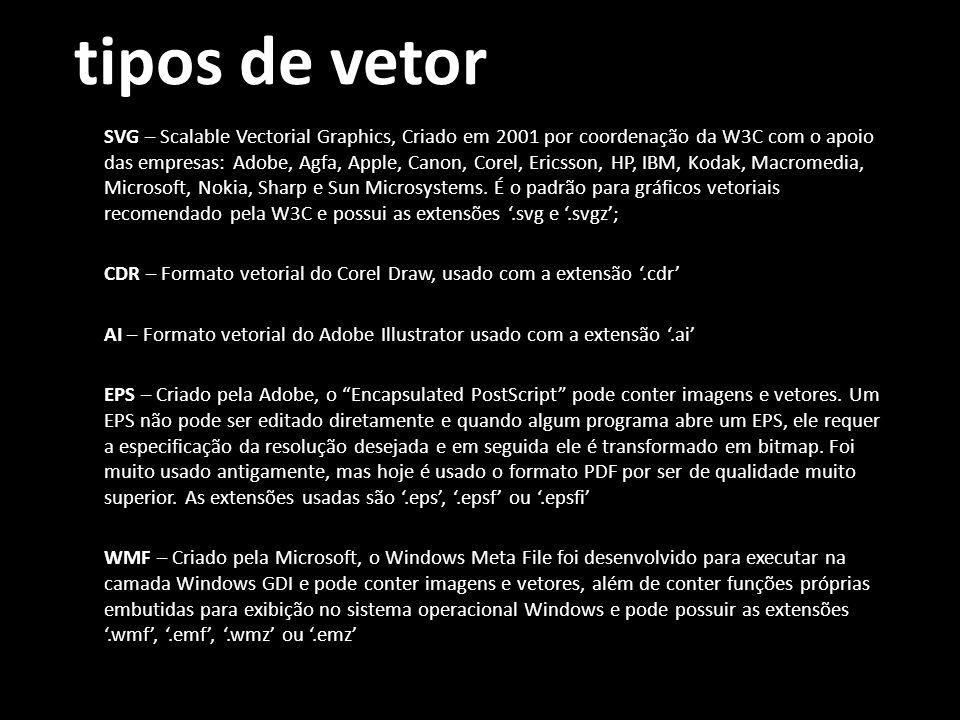 tipos de vetor SVG – Scalable Vectorial Graphics, Criado em 2001 por coordenação da W3C com o apoio das empresas: Adobe, Agfa, Apple, Canon, Corel, Ericsson, HP, IBM, Kodak, Macromedia, Microsoft, Nokia, Sharp e Sun Microsystems.